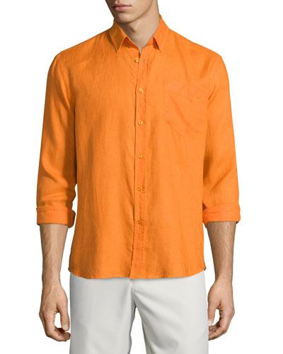 Caroubier Linen Long-Sleeve Shirt, Orange