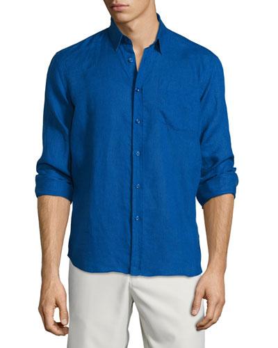 Caroubier Linen Long-Sleeve Shirt, Light Blue