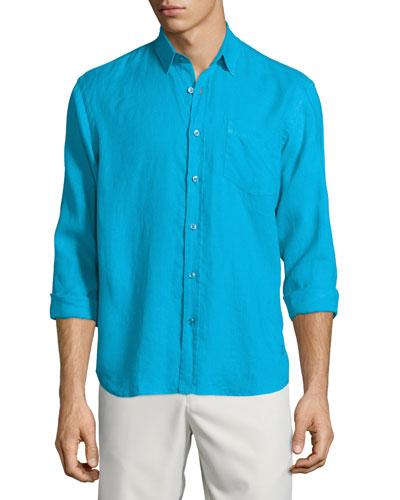 Caroubier Linen Long-Sleeve Shirt, Cobalt