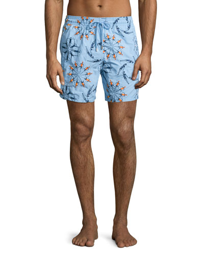 Mistral Swimmers Embroidered Swim Trunks, Light Blue