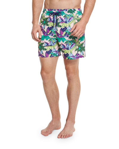 Moorea Forest Paradise Printed Swim Trunks, Pink