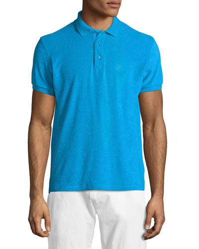 Terry Short-Sleeve Polo Shirt, Cobalt