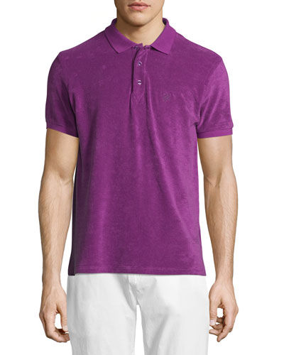 Terry Short-Sleeve Polo Shirt, Purple
