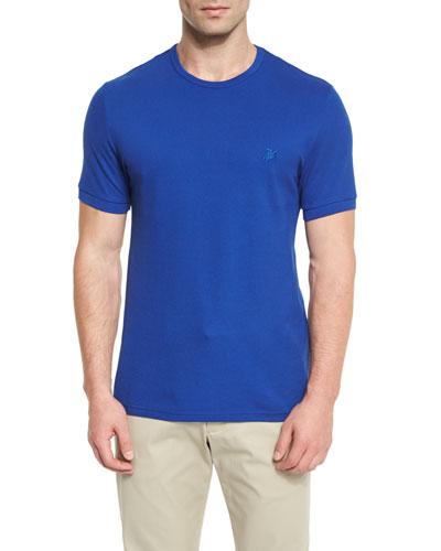 Classic Crewneck Piqué T-Shirt, Blue