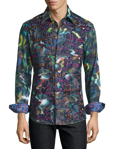 Limited Edition Embroidered Sport Shirt, Multi Colors