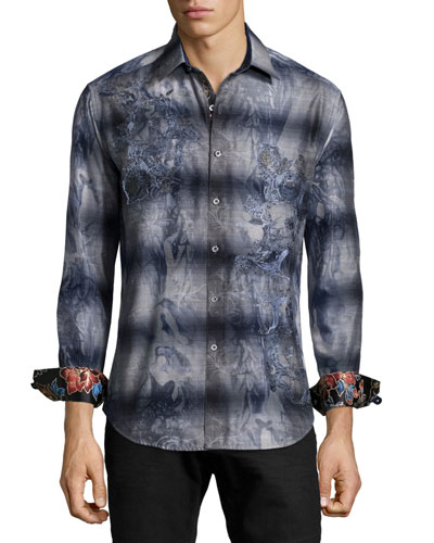Limited Edition Embroidered Floral-Print Sport Shirt, Navy