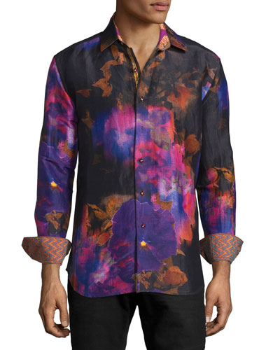 Limited Edition Tie-Dye Floral Sport Shirt, Multi Colors