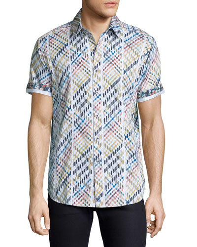 Multicolor Geo-Pattern Short-Sleeve Sport Shirt, White