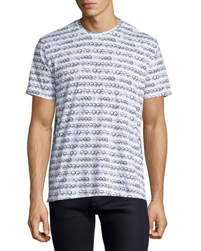Skull-Print Jersey T-Shirt, White