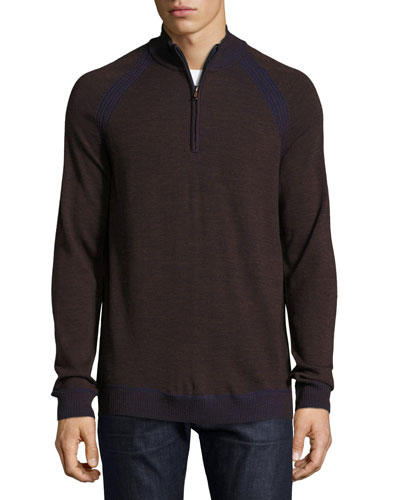 Jovanni Two-Tone Half-Zip Sweater, Heather Chocolate