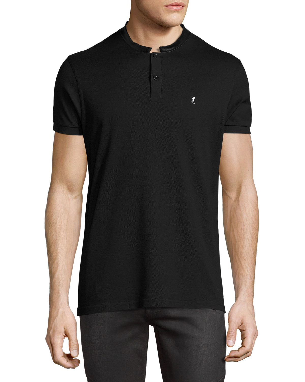 Leather-Collar Polo Shirt, Black