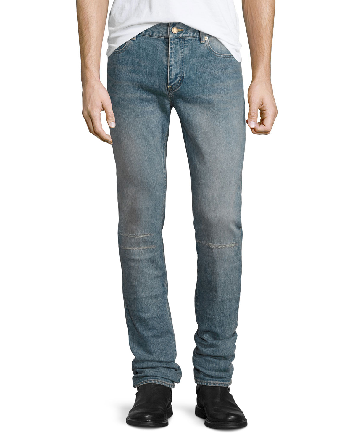 Repaired Straight-Leg Denim Jeans, Light Blue
