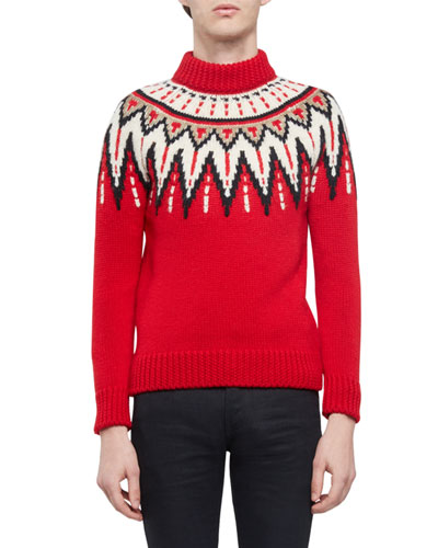 Fair Isle Mock-Neck Sweater, Red Multi