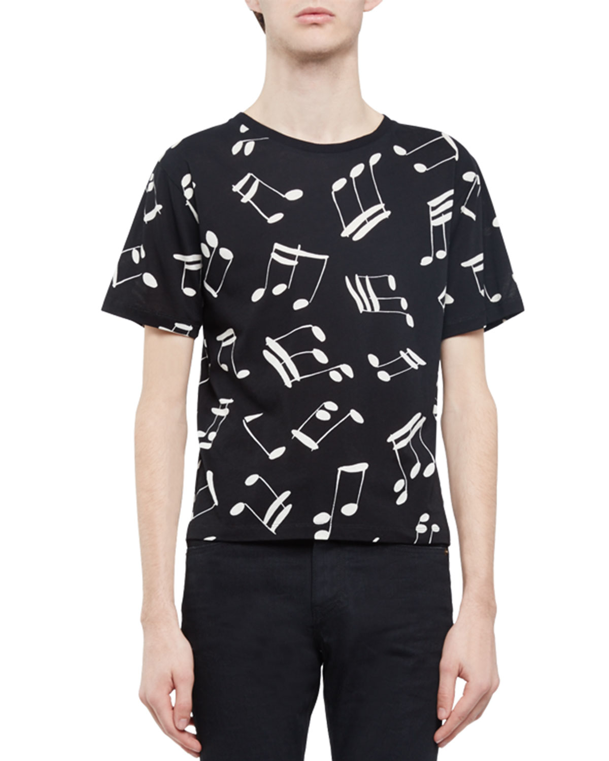 Musical-Note Short-Sleeve T-Shirt, Black/Ivory