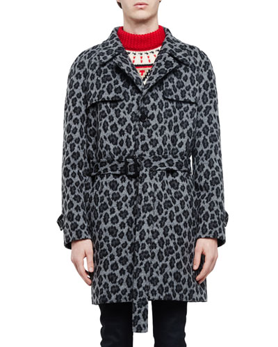 Leopard-Print Belted Trench Coat, Gray Multi