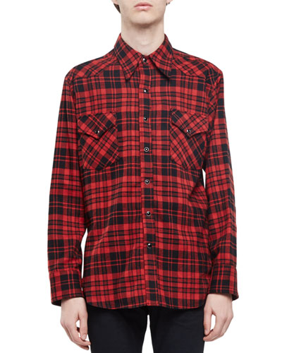 Check Western-Style Flannel Shirt, Red