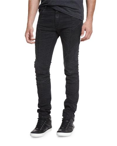 Skinny-Fit Biker Denim Jeans, Black