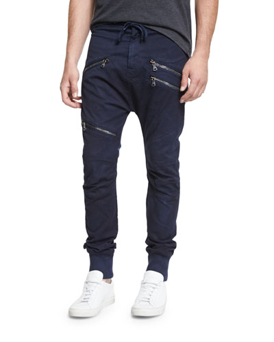 Drawstring Twill Biker Pants, Blue Navy