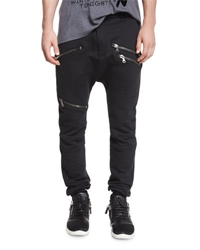 Drawstring Biker Sweatpants, Black