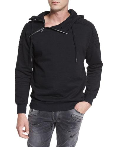 Shoulder-Zip Quilted-Panel Hoodie