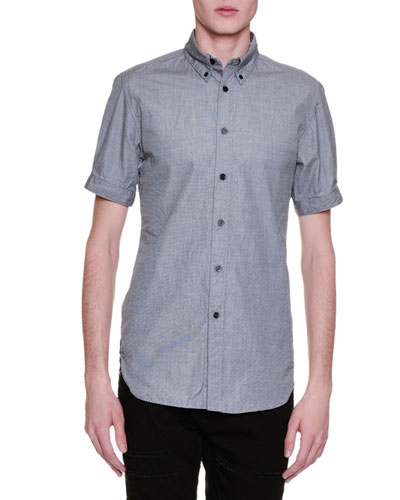 Chambray Short-Sleeve Woven Shirt, Gray