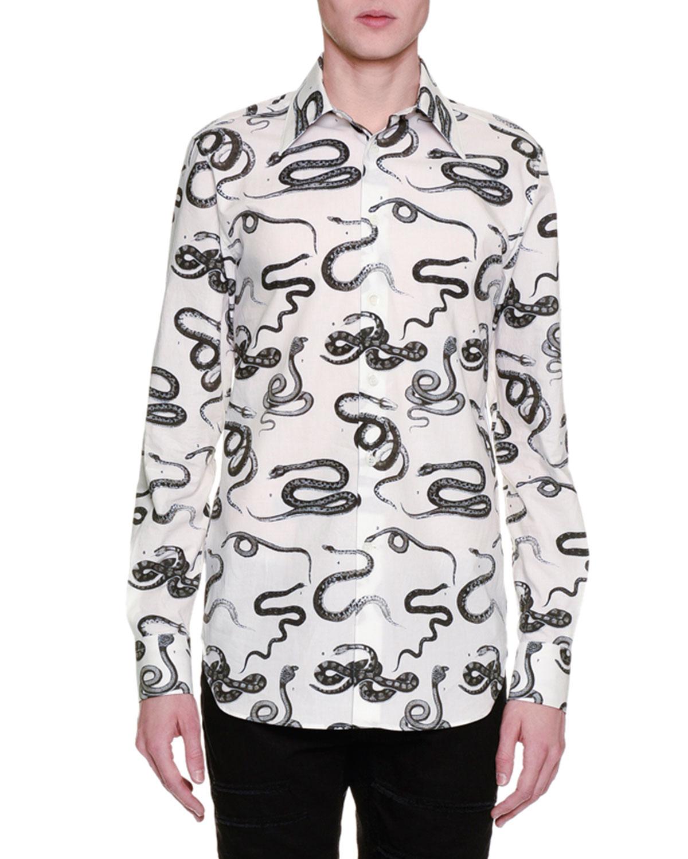 Snake-Print Long-Sleeve Poplin Shirt, White