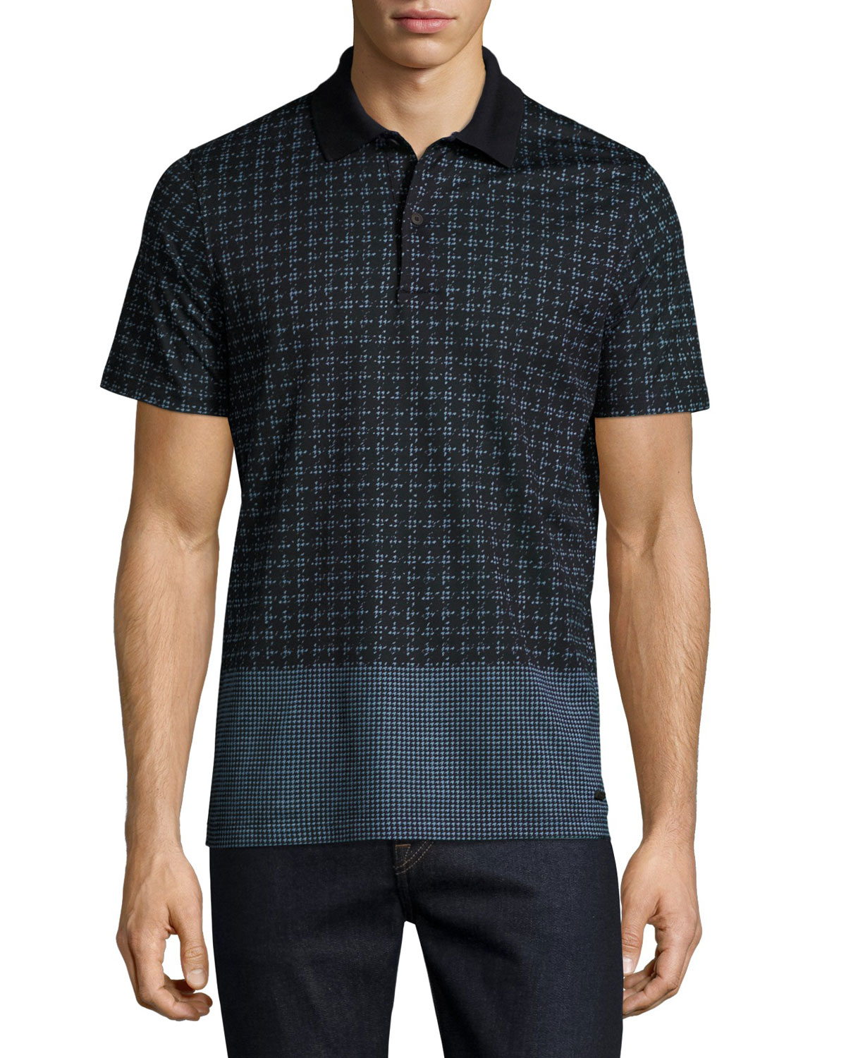 Block-Print Polo Shirt, Light Steel Blue
