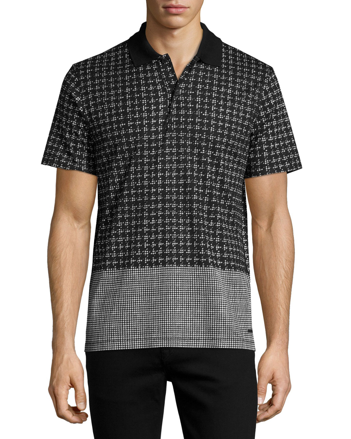 Block-Print Polo Shirt, White