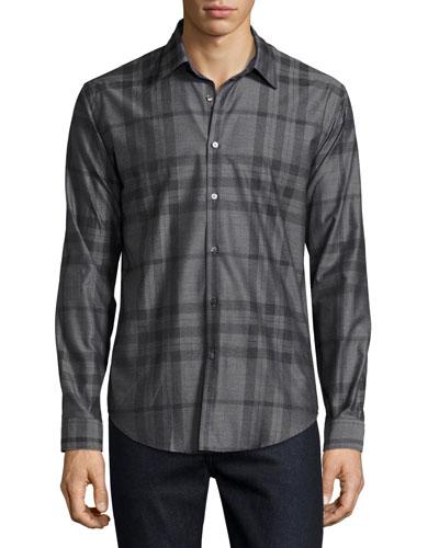 Check Flannel Woven Shirt, Dark Gray Melange