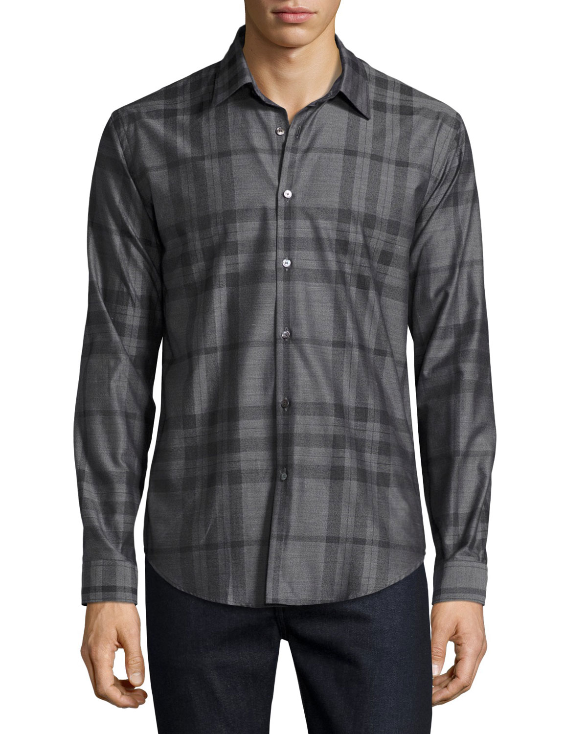 Check Flannel Woven Shirt, Dark Gray Melange