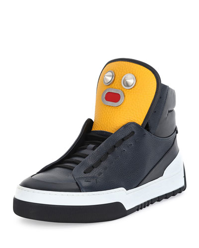 Men's Metal Face Leather High-Top Sneaker, Navy