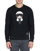 Karlito Studded Crewneck Sweatshirt, Black