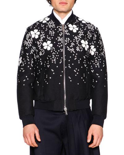 Embroidered Cherry Blossom Bomber Jacket, Black/White