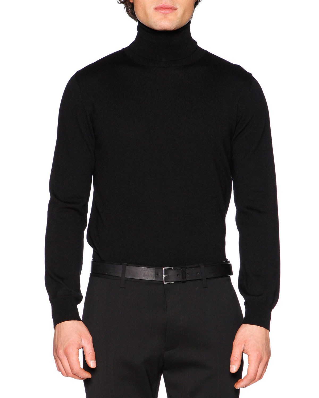 Wool Turtleneck Sweater, Black
