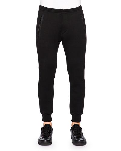 Wool-Blend Stretch Jogger Pants, Black