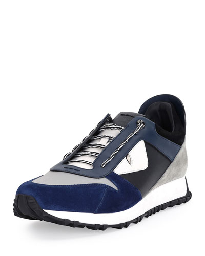 Monster Runner Spike-Back Leather Sneaker, Navy