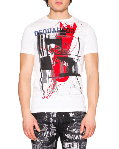 Abstract-Print Short-Sleeve Graphic Tee, White
