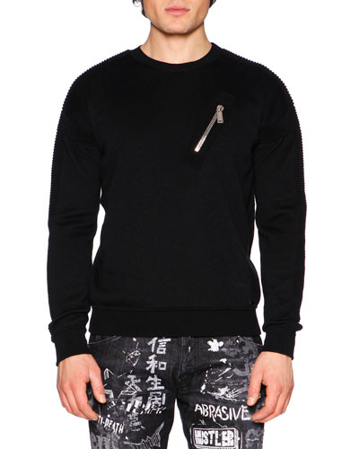 Ribbed-Sleeve Wool Moto Sweater, Black