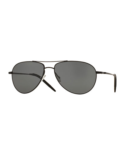 Benedict 59 Metal Aviator Polarized Sunglasses, Black