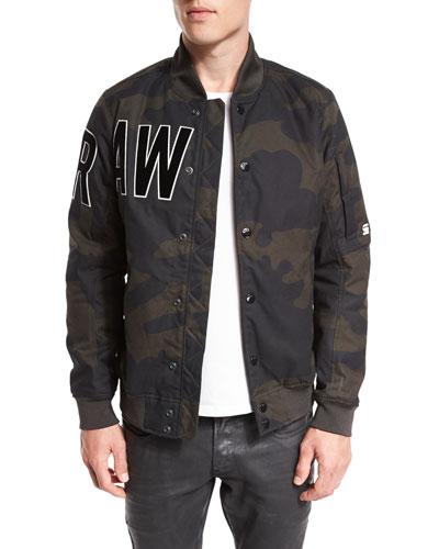 Batt Camo-Print Sports Bomber Jacket, Asfalt/Carbon Ao