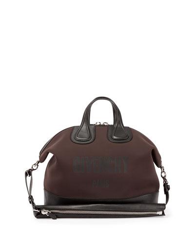 Nightingale Men's Neoprene Logo Satchel Bag, Dark Brown