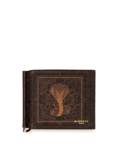 Men's Coated Canvas Cobra-Print Money Clip Wallet, Black