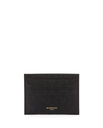 Logo & Star Embossed Leather Card Case