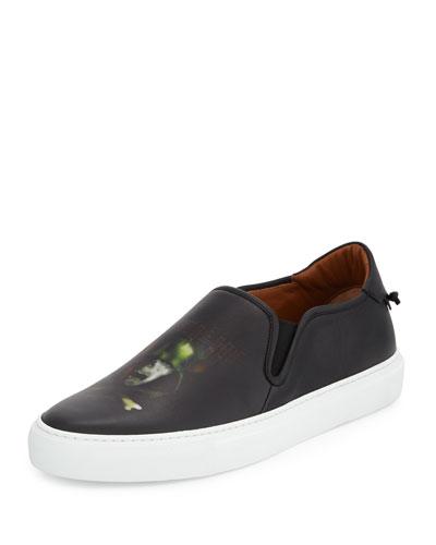 Army Skull Leather Skate Shoe, Black