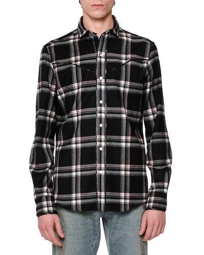 Western-Style Plaid Flannel Shirt, Black