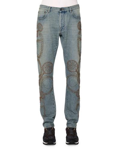 Embroidered Five-Pocket Denim Jeans, Light Blue