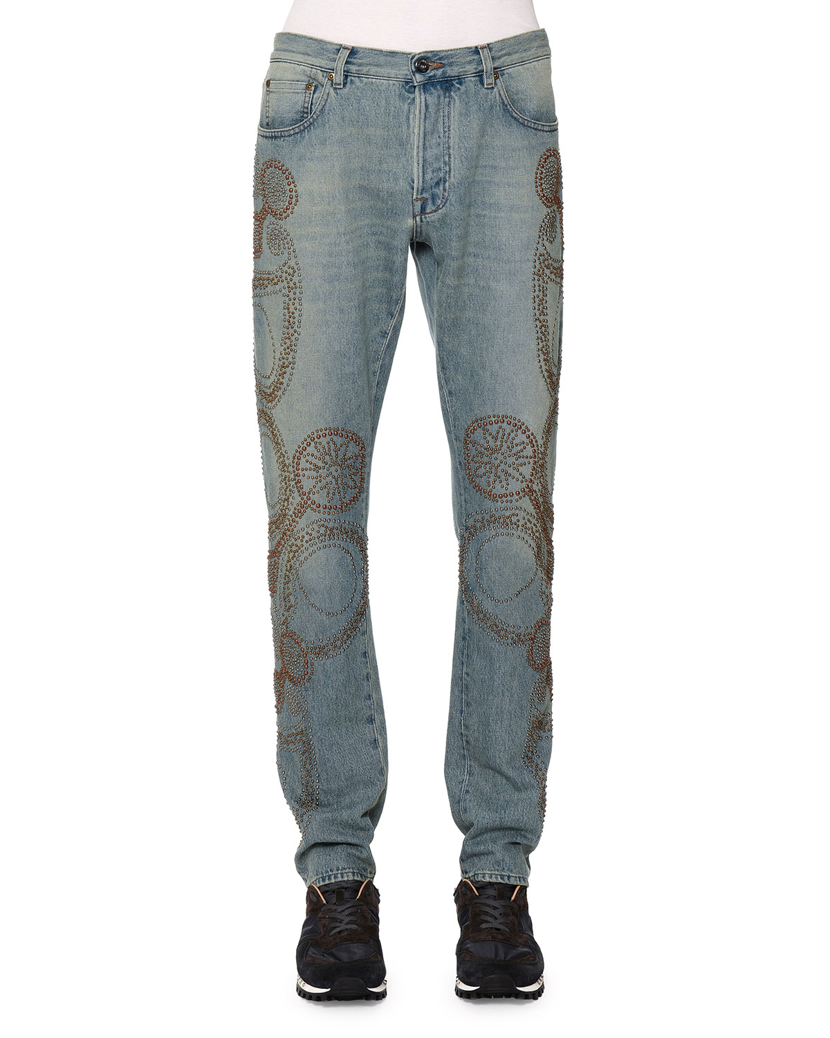 Embroidered Five-Pocket Denim Jeans, Light Blue