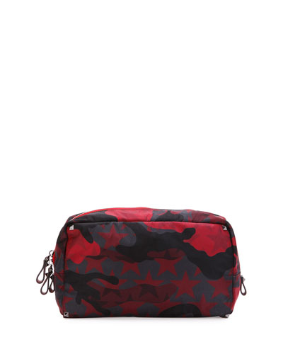 Camo Star-Print Nylon Wash Bag