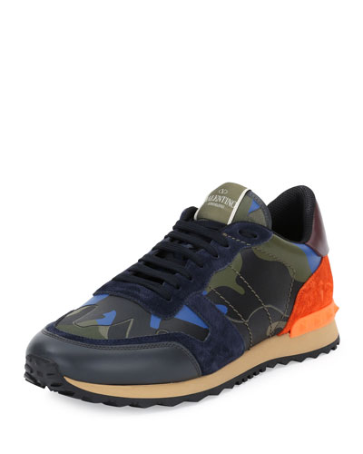 Rockrunner® Leather Camo-Print Trainer Sneaker, Multicolored