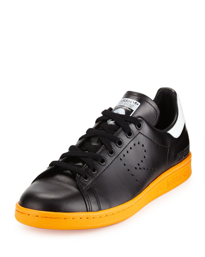 Stan Smith Leather Sneaker, Black/White/Orange